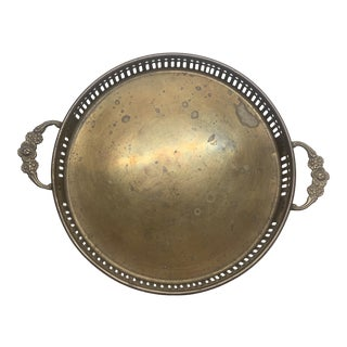 Vintage Small Brass Tray With Floral Handles and Raised Edge For Sale