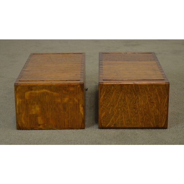 1910s Antique Oak Pair of Desktop Library Card File Cabinets For Sale - Image 5 of 12