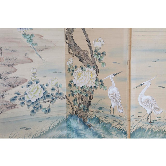 Japanese Four-Panel Floor Silk Screen Landscape With Herons, Circa 1920s For Sale - Image 4 of 13