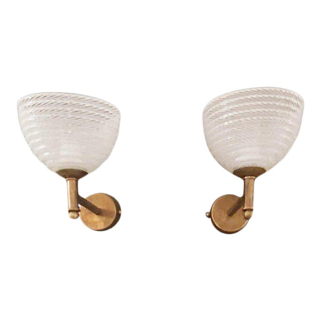Vintage Barovier E Toso Ribbed Murano Glass Sconces - a Pair For Sale