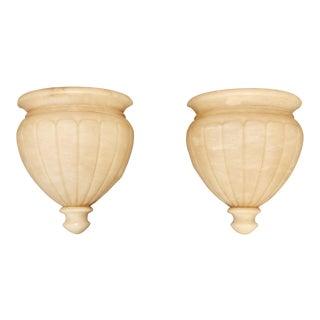 Carved Alabaster Urn Shape Sconces - A Pair