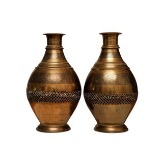 Pierced Indian Brass Vases - a Pair For Sale