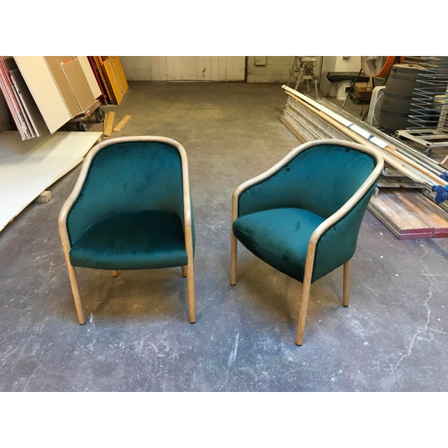 Gorgeous pair of fully restored Ward Bennett solid Ash wood frame chairs. Cerused Ash frames in light beige with white...