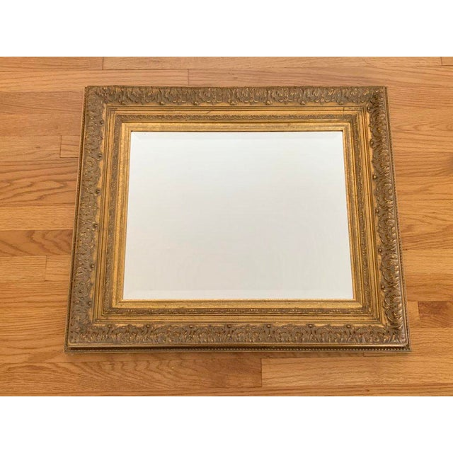 Baroque Vintage Baroque Gilt Wood Rectangular Mirror 24x28 For Sale - Image 3 of 8