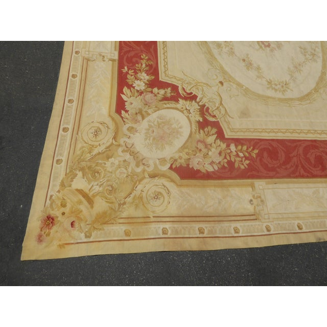 Vintage Tan Floral Aubusson Area Rug - 8′6″ × 11′7″ - Image 7 of 11