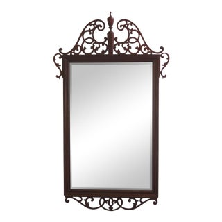 Baker Chippendale Pierced Fretwork Mahogany Mirror For Sale