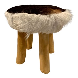 Vintage Fur and Solid Wood Footstool For Sale