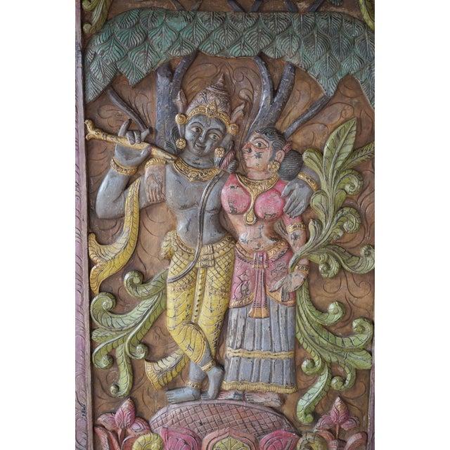 Indian Carving Door Panel Krishna Radha Under Kadambari Tree Wall Relief Sculpture For Sale - Image 4 of 5
