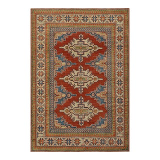 Geometric Kazak Rug Hand-Knotted 3'9'' X 5'5' For Sale