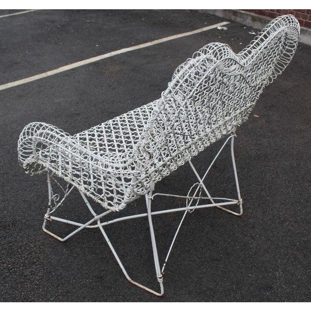 Mid-Century Modern Wire Mesh Loveseat Settee Outdoor Bench For Sale - Image 3 of 6