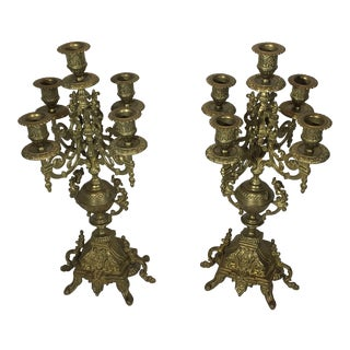 Vintage Renaissance Style Italian 5-Candle Candelabras - a Pair For Sale