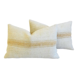 "Custom Golden Striped French Grain Sack Feather/Down Pillows 24"" X 16 - Pair For Sale"