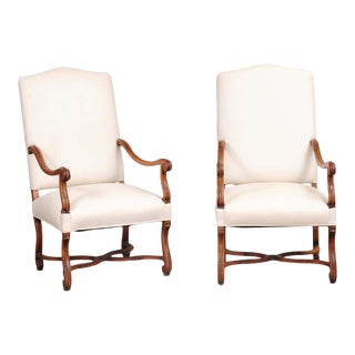 French 19th Century Louis XIV Style Walnut Fauteuils with New Upholstery - a Pair For Sale