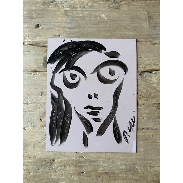 Black Vintage Mid-Century Signed Peter Keil Acrylic Abstract Portrait Painting For Sale - Image 8 of 8