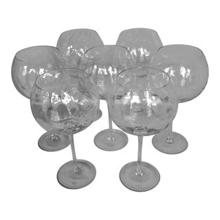 Abigail Style Crystal Balloon Wine Glasses - Set of 7 For Sale