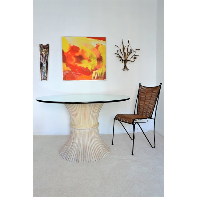 McGuire Wheat Sheaf Bamboo Rattan Dining Table With Thick Round Glass Top Organic Mid Century Modern MCM Millennial For Sale - Image 11 of 11