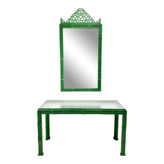 Chippendale Inspired Green Fretwork Mirror and Console Table - a Pair For Sale
