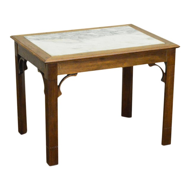 Chippendale Style Custom Walnut Marble Top Side Table For Sale