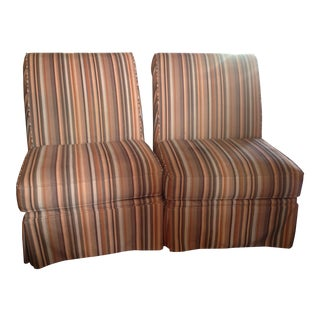 Vintage Stripped Velvet Slipper Chairs - a Pair