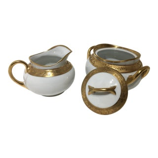 Traditional Gold Encrusted Hutschenreuther Selb, Bavaria Cream Sugar Set - 2 Pieces For Sale