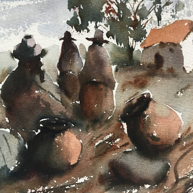 Vintage Peruvian Watercolor Painting By Hugo Lecaros For Sale - Image 5 of 7