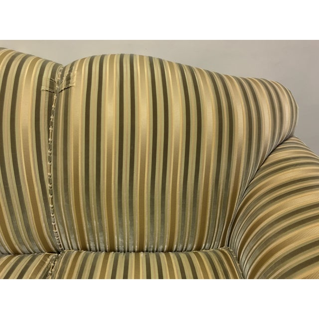 Baker Roll Arm Sofa in Cut Velvet For Sale - Image 9 of 13