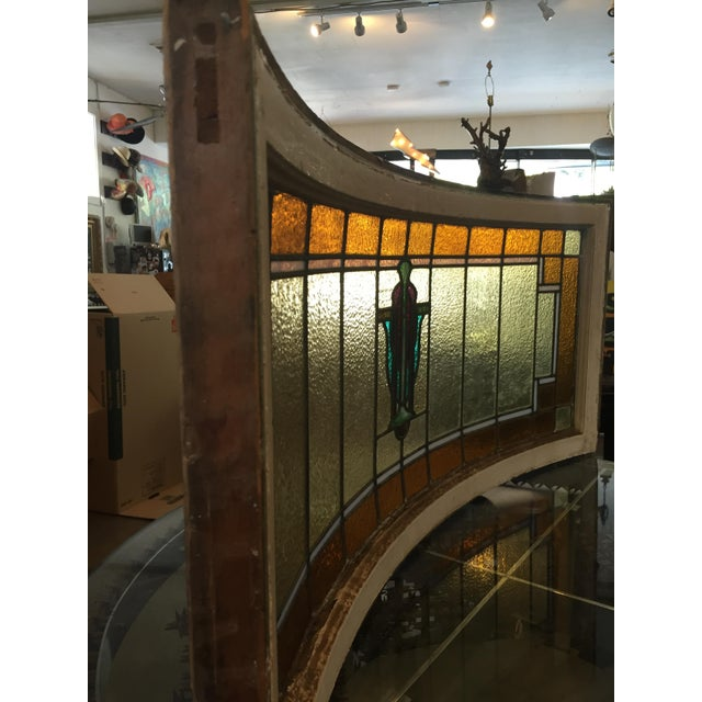 Antique Mission Design Curved Stained Glass Window For Sale - Image 11 of 11