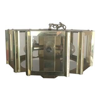 1970s Vintage Fredrick Ramond Brass Hexagonal Pendant Chandelier For Sale