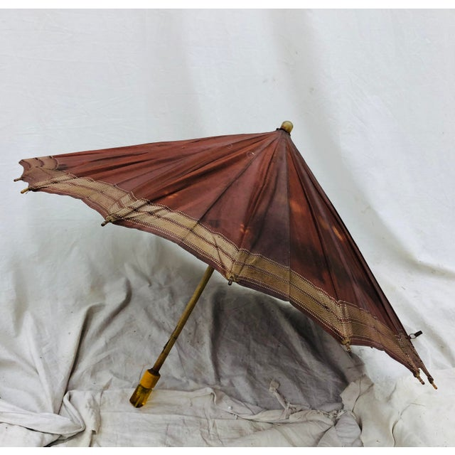 Bamboo Antique Hercules Umbrella For Sale - Image 7 of 7