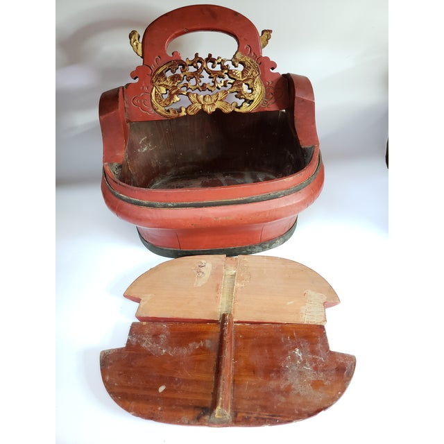1960s Vintage Chinese Red Painted Wood Food Wedding Basket For Sale - Image 4 of 7