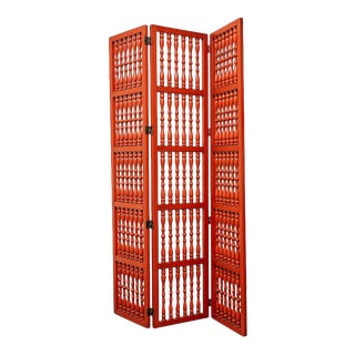 Three Panel Turned Wood Room Screens in Coral Red For Sale