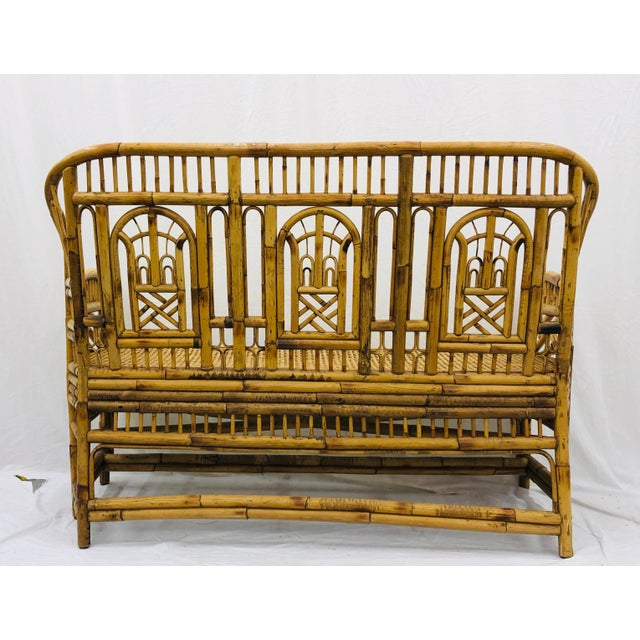 Vintage Chinese Chippendale Bamboo & Cane Settee For Sale - Image 9 of 13