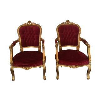Red Velvet Louis XVI Gilt Chairs - A Pair For Sale