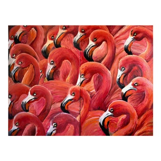 """Flamingo Gaggle"" Geoff Greene Diptych in Oil on 2 Panels For Sale"