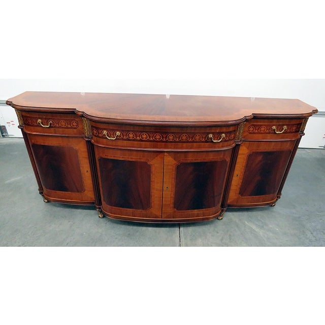 Wood Decorative Crafts Regency Style Inlaid Sideboard For Sale - Image 7 of 13
