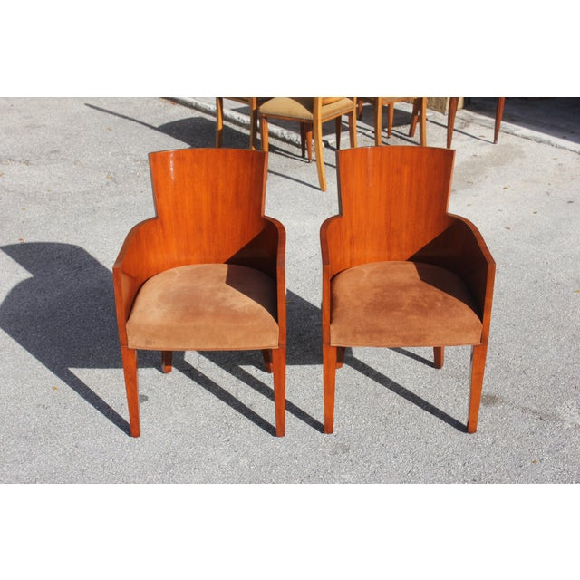 Pair of Solid Mahogany Ralph Lauren Modern Hollywood Armchairs . For Sale - Image 10 of 13