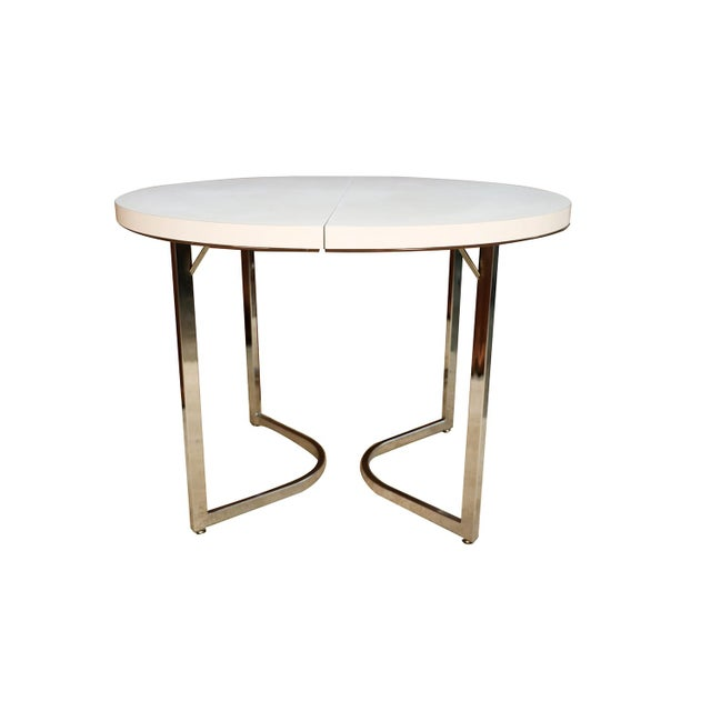 Mid Century Retro Laminate Circular Chrome Base Table For Sale - Image 9 of 10