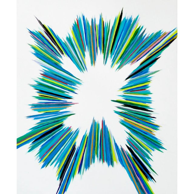 Abstract Painting, Green Sparks For Sale - Image 4 of 4