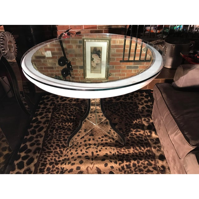 Round White Beveled Mirror Pedestal Table For Sale - Image 4 of 10