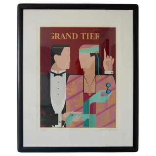"Art Deco Revival ""Grand Tier"" Lithograph by Giancarlo Impiglia For Sale"