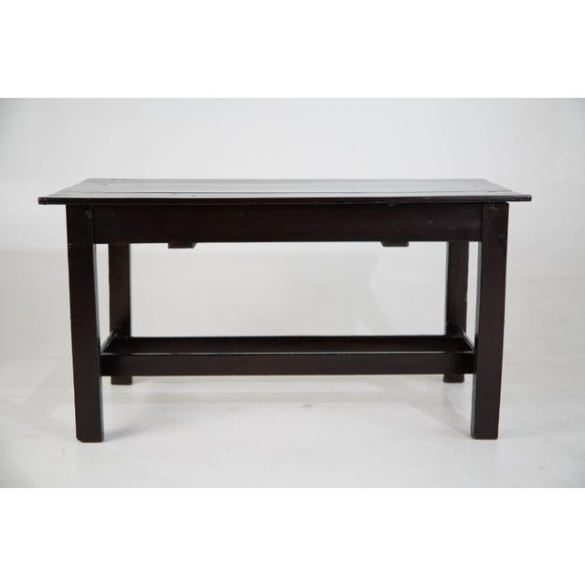 Mid 20th Century Vintage Black Lacquered Wooden Desk With Brass Hardware For Sale - Image 5 of 8