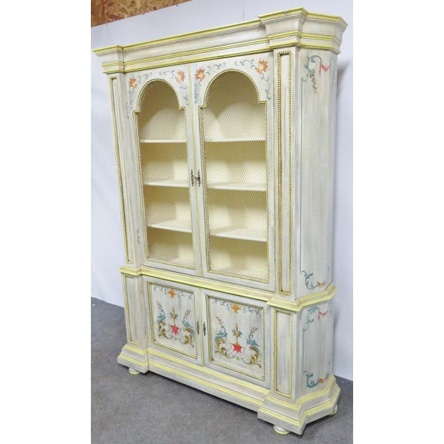 Italian Italian Painted Decorated Bookcase For Sale - Image 3 of 9