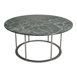 Round Marble Dining Table With a Steel Base For Sale