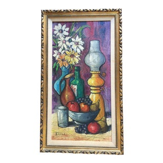 Late 20th Century Still Life Oil Painting on Canvas by Keone For Sale