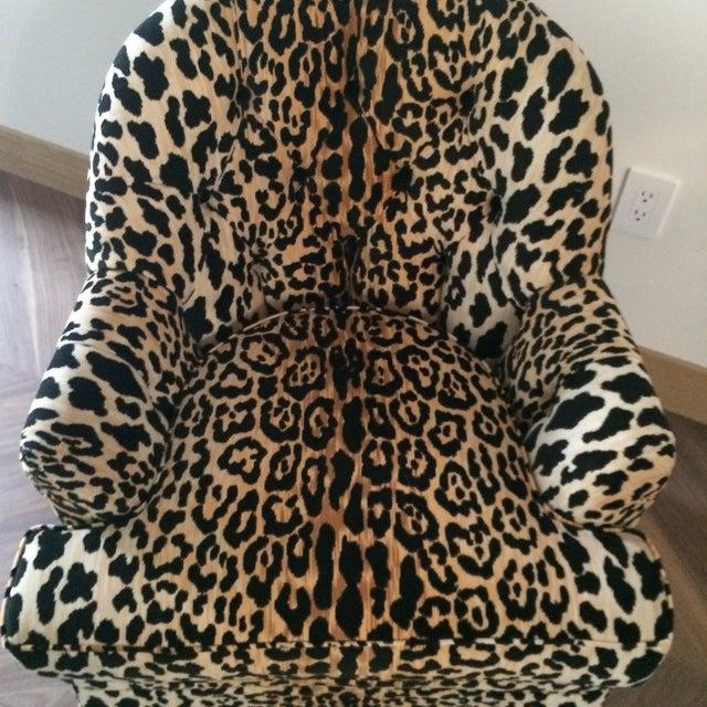 Mid Century Velvet Leopard Print Club Chair - Image 6 of 7