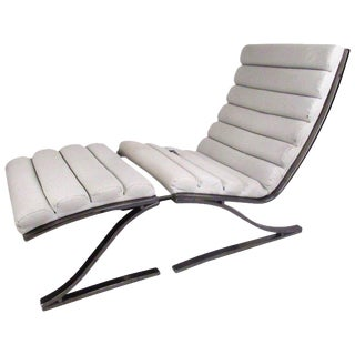 Design Institute of America Modern Lounge Chair With Ottoman - A Pair For Sale
