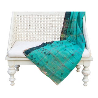 Teal Bengal Kantha Throw For Sale