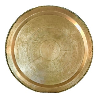Vintage Moroccan Round Brass Tray Table For Sale