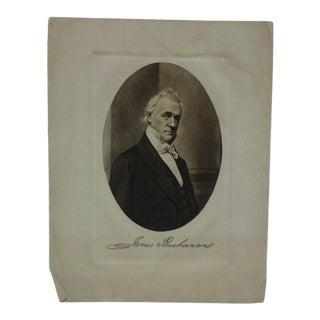 "Vintage Presidential Print on Paper ""James Buchanan"" Circa 1900 For Sale"