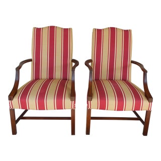 Hickory Chair Co. Martha Washington Chippendale Style Mahogany Chairs - Pair
